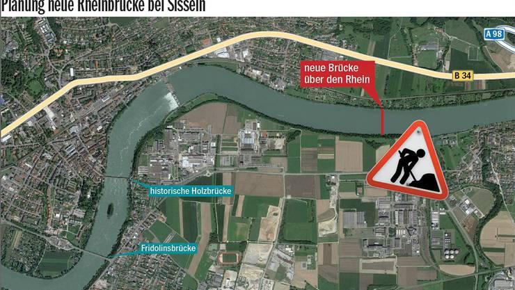 Der Standort der neuen Rheinbrücke könnte bei der Einmündung der Sissle in den Rhein sein. Die Brücke soll auch Stein vom Verkehr entlasten.