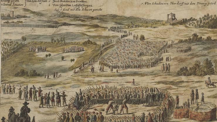 Bis weit in die Neuzeit waren Hinrichtungen üblich, wie jene vom 24. Juli 1653 auf dem Basler Gellerthügel: Sechs Rädelsführer des Bauernkrieges werden enthauptet, einer gehängt. Der Name der Galgenhügel-Promenade erinnert an die Richtstätte.