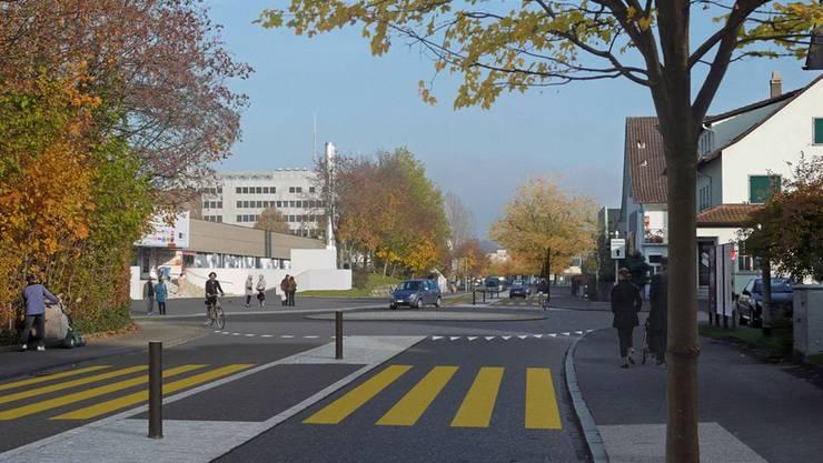 Das Betriebs- und Gestaltungskonzept für die Tellistrasse sieht eine Umgestaltung der Kreuzung Girixweg/ Tellistrasse zu einem Kreisel vor. Die Querbarkeit der Fahrbahn für Fussgänger und Velofahrer soll verbessert werden. Bäume unterstreichen den Alleecharakter. zvg/Visualisierung