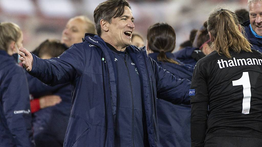 Nationaltrainer Nils Nielsen hatte nach der dramatischen Partie mit den Emotionen zu kämpfen