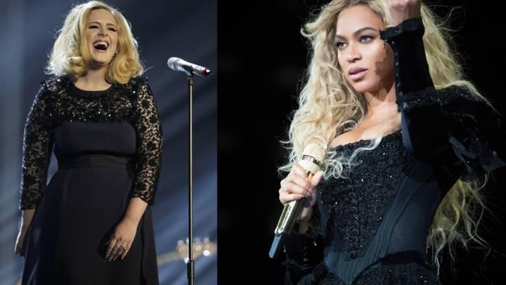 Adele (links) oder Beyoncé? Die beiden Sängerinnen liefern sich an der heutigen Grammy-Verleihung ein Kopf-an-Kopf-Rennen. (Archivbilder)