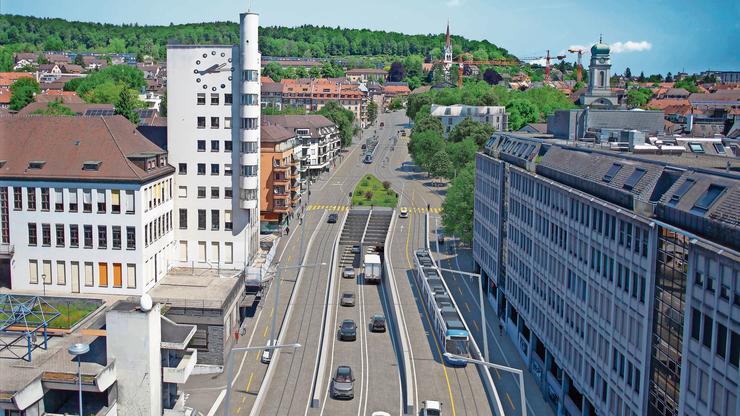Zwei Spuren verschwinden im Tunnel, übrig bleiben zwei Fahrspuren und die Tramlinie auf der Rosengartenstrasse. Das Bild zeigt nur eine mögliche Gestaltung des Tunnelportals in Wipkingen.