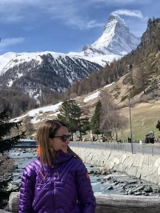 Da solls hinauf: Sue Hirschi vor dem Matterhorn