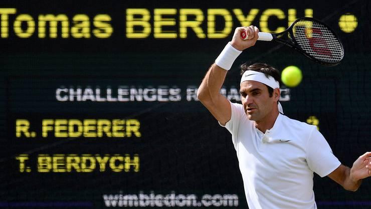 Roger Federer traf im Wimbledon-Halbfinal auf den Tschechen Tomas Berdych.