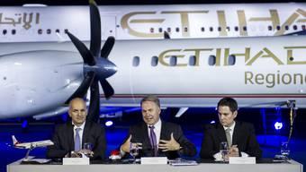 Die Führungsspitze der Etihad Airways am Donnerstag in Zürich