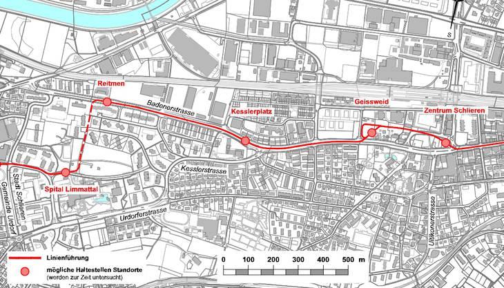 Streckenführung der Limmattalbahn in Schlieren