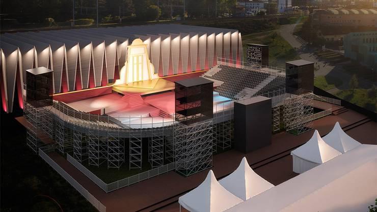 Vom 11. bis 27. August führt die Oper Schenkenberg bei der Mülimatt-Sporthalle Giuseppe Verdis «Rigoletto» auf. (Visualisierung)
