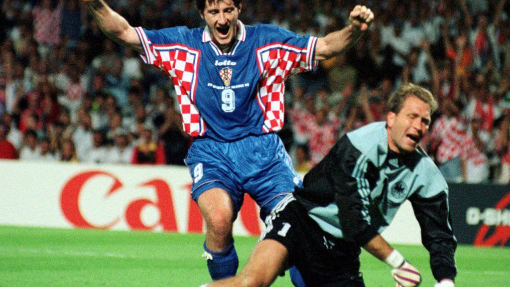 Davor Suker (links) traf an der WM 1998 sechsmal - unter anderem auch gegen Deutschland und Torhüter Andreas Köpke