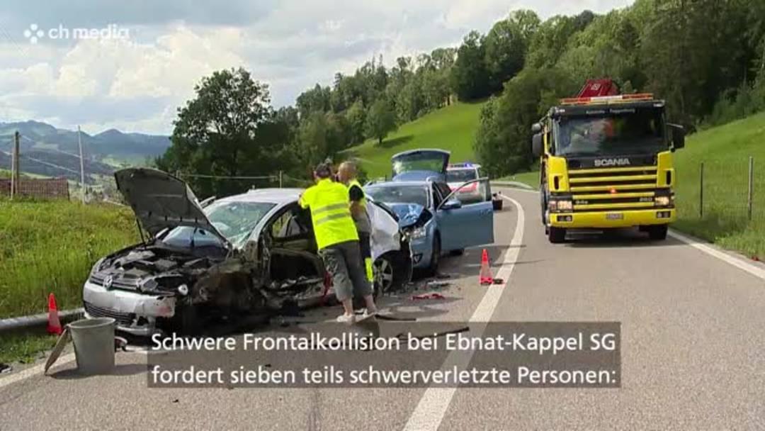 Schwere Frontalkollision bei Ebnat-Kappel (SG): Sieben Personen teils schwer verletzt
