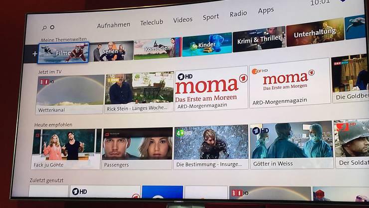 Anders als Quickline setzt Swisscom beim Fernsehen nicht auf Individualisierung.