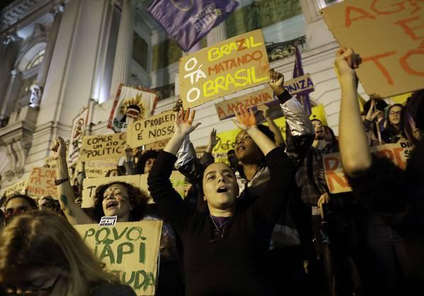 Am 23. August protestierten Demonstranten in Rio de Janeiro gegen die Untätigkeit der Regierung.