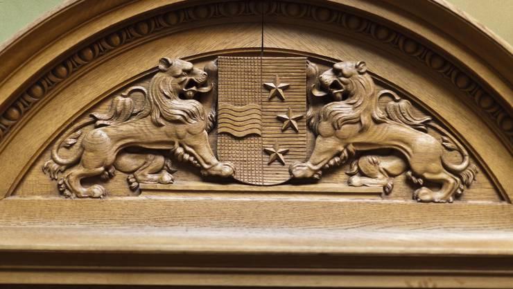 Das Aargauer Wappen im Nationalratssaal im Bundeshaus.
