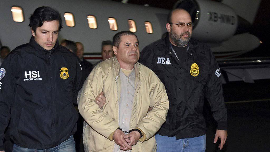 Muss lebenslang hinter Gitter: Der mexikanische Drogenboss Joaquín «El Chapo» Guzmán, hier nach seiner Überführung aus Mexiko nach New York im Januar 2017.