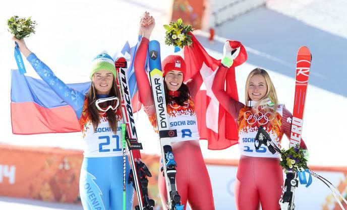 Doppelspitze mit Tina Maze, Slowenien und Dominique Gisin. Bronze: Lara Gut (von rechts)
