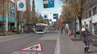 Dank Tempo 30 wird die Fahrbahn schmaler und neben der Strasse gibt es Platz für eine neue Baumreihe.
