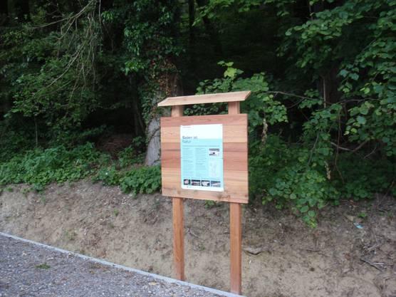 Eine Info-Tafel liefert interessante Facts über die Amphibien