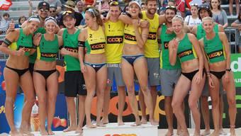Das Siegerpodest 2018 der Coop Beachtour in Olten.