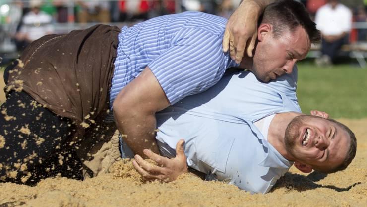 Remo Käser (unten/in einem Kampf gegen Kilian Wenger am Oberaargauischen Schwingfest) fällt mit einem Bandscheibenvorfall mehrere Wochen aus