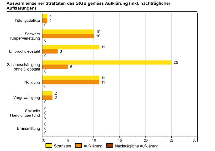 Die Aufklärungsrate bei Tötungsdelikten. schweren Körperverletzungen und Nötigungen ist im Kanton Appenzell Innerrhoden sehr hoch.
