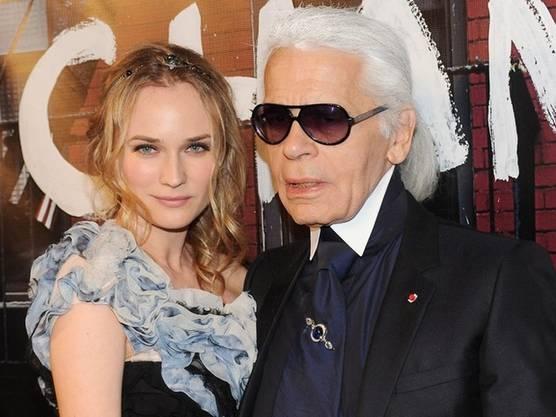 Darling der Modebranche: Diane Kruger mit Karl Lagerfeld (Archiv)