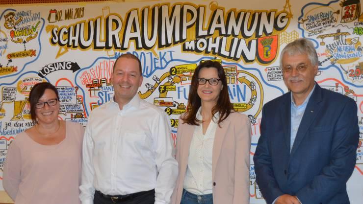 Astrid Zeiner, Stephan Müller, Priska Artico und Karl Eiermann (von links) setzen sich für den Schulraum ein.