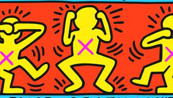 """Das Werk """"Ignorance = Fear, Silence = Death"""" (1989) von Keith Haring ist Teil der Ausstellung """"United by AIDS"""" im Migros Museum in Zürich. Sie dauert vom 31. August bis 10. November 2019."""