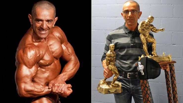 Diese beiden Trophäen schleppte Giovanni Arcadio ins Physical-Fitness. (gam/zvg)