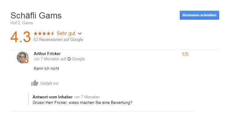 Danke Herr Fricker. Und kommen Sie bald...überhaupt mal vorbei (Bild: Screenshot Google)
