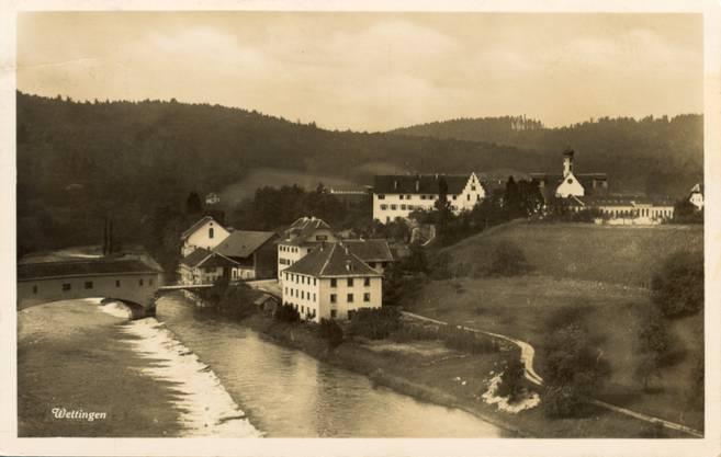 Die Holzbrücke beim Kloster Wettingen anno 1912.