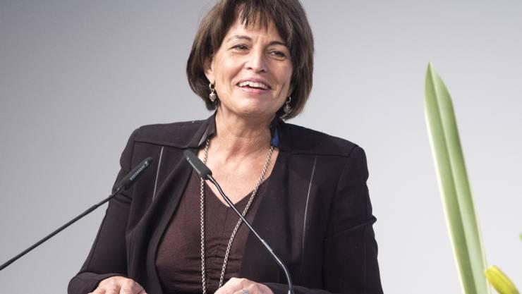 Auch zwei Monate vor Amtsende engagiert:  Bundesrätin Doris Leuthard warnt die CVP-Delegierten vor den Folgen der Selbstbestimmungs-Initiative.