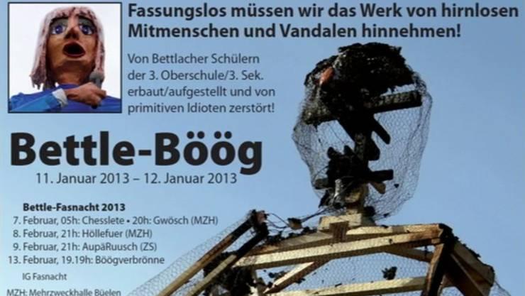 Bettle-Böög wurde abgebrannt. Die Fasnächtler haben zum gedenken eine Todesanzeige verfasst.