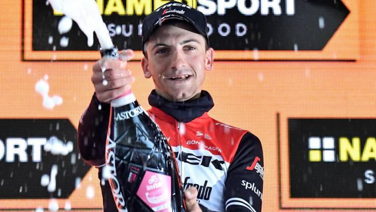 Giulio Ciccone - hier beim Giro d'Italia - übernahm überraschend das Leadertrikot in der Tour de France