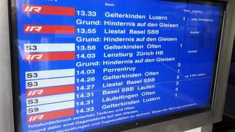 «Rien ne va plus»: Am Mittwochnachmittag ging zwischen Tecknau und Olten nichts mehr, was zu zahlreichen Ausfällen führte.