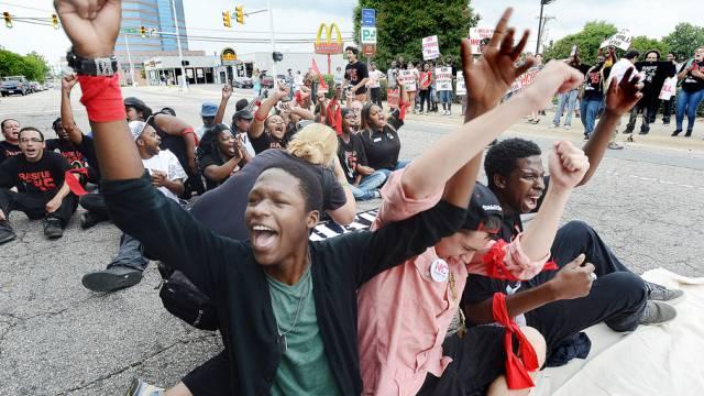 Streikende Fast-Food-Mitarbeiter in North Carolina