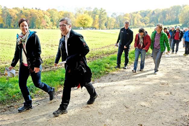 Geladene Gäste Regierungsrätin Monica Gschwind (l.) und Landratspräsident Franz Meyer.