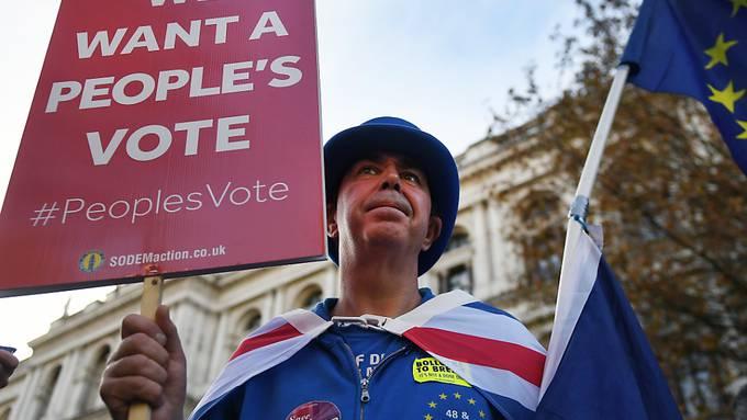 Gegner und Befürworter des Brexit haben am Mittwoch während der Kabinettssitzung vor der Downing Street in London demonstriert. Dort berieten die Minister über den mit Brüssel erzielten Entwurf des Brexit-Abkommens.