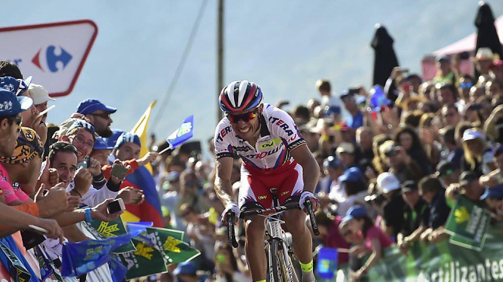 Der Spanier Joaquin Rodriguez führt neu die Vuelta an - mit einem Vorsprung von einer Sekunde auf den bisherigen Leader Fabio Aru (It)