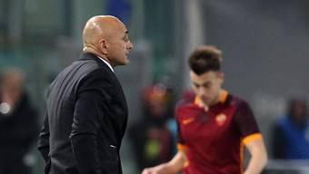 Trainer Spalletti und Stürmer El Shaarawy beim Römer Sieg gegen Frosinone.