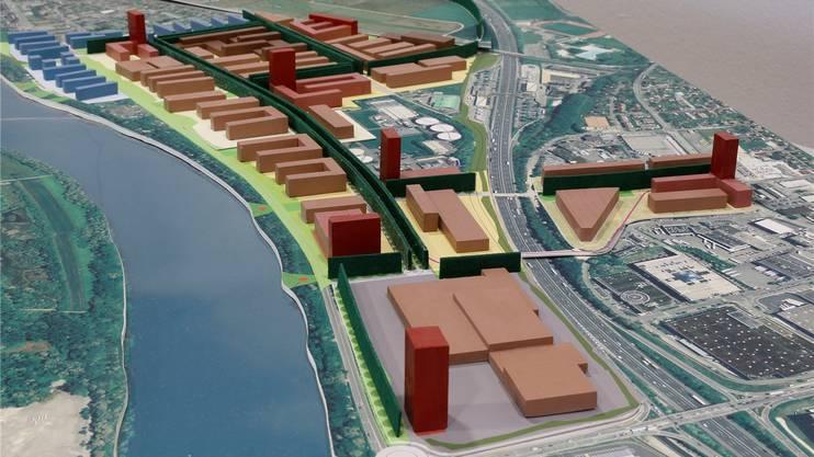 Ungefähr so könnte Salina Raurica in den nächsten Jahren überbaut werden (unten rechts das neue Coop-Produktionszentrum an der Autobahn A2, links der Rhein, oben die Gebiete Pratteln-Längi und Augst).