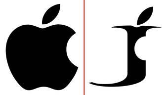 Diese Ähnlichkeit ist erlaubt: das Apple-Logo und das abgekupferte Zeichen.