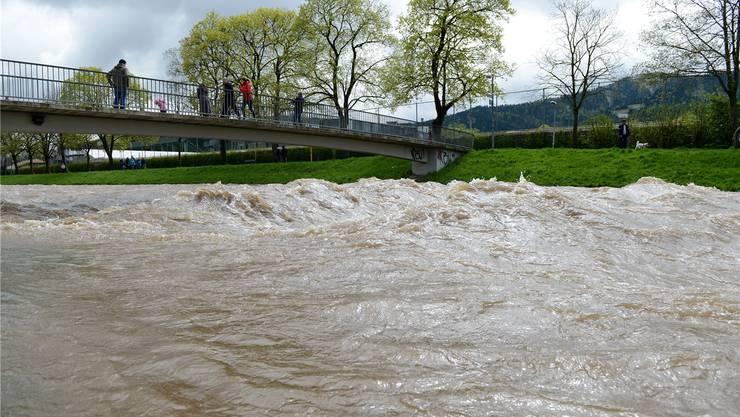 Sogar das Flüsslein Dreisam in Freiburg im Breisgau entwickelte sich wegen des vielen Regens zum reissenden Gewässer.