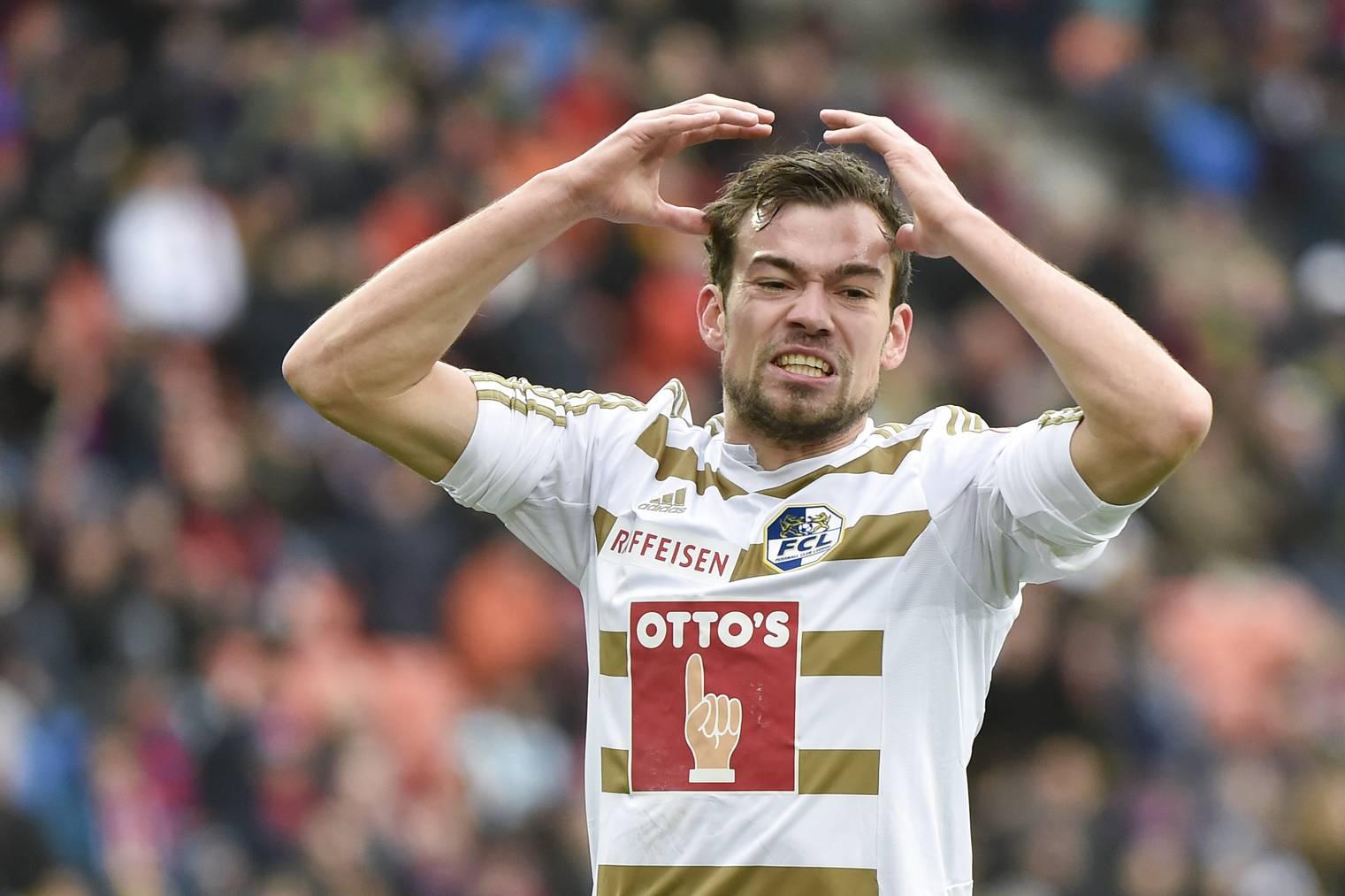 Sebastian Schachten, der für den FCL am letzten Samstag sein erstes Meisterschaftstor erzielte, ärgert sich über vergebene Chancen.