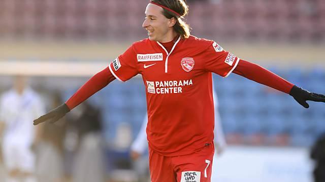 Thuns Luca Zuffi nach seinem Tor zum 2:0 gegen Lausanne.