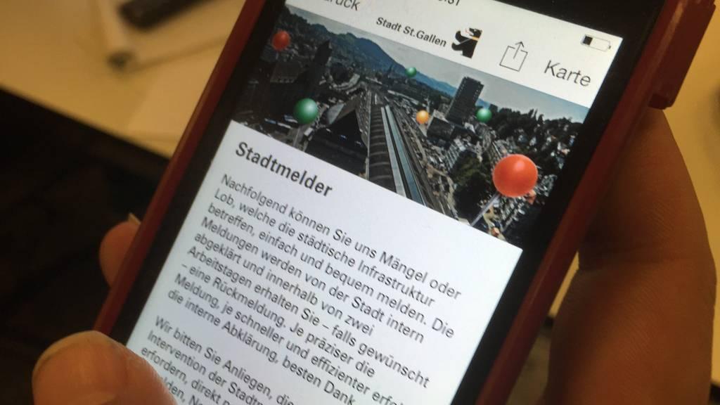"""Auf der App """"MobileSG"""" gibt es seit August die Funktion """"Stadtmelder"""". (Bild: red)"""