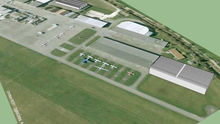 Die Computervisualisierung zeigt das geplante Projekt auf dem Flughafen