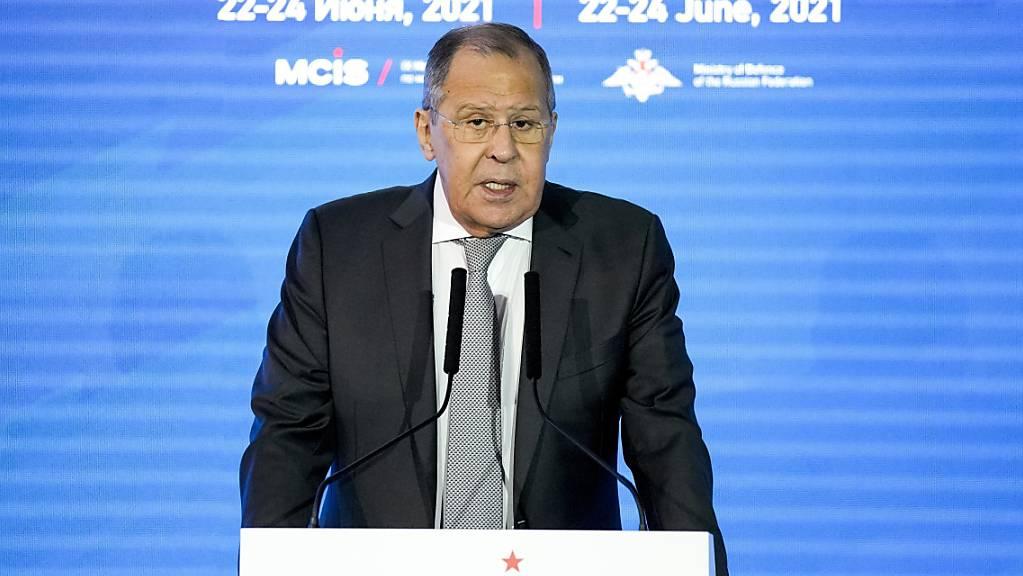 Der russische Aussenminister Sergej Lawrow spricht auf der 9. Moskauer Konferenz für internationale Sicherheit (MCIS).