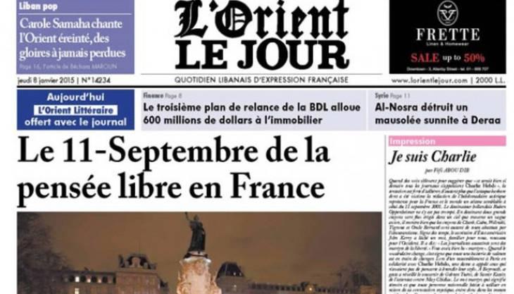 Titelseite der libanesischen Zeitung «L'Orient-Le Jour».