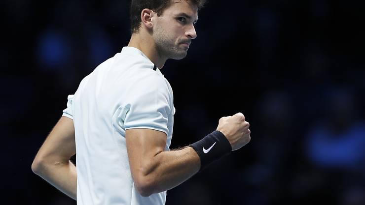 Grigor Dimitrov ballt bei seinem Auftakt in die ATP Finals die Faust