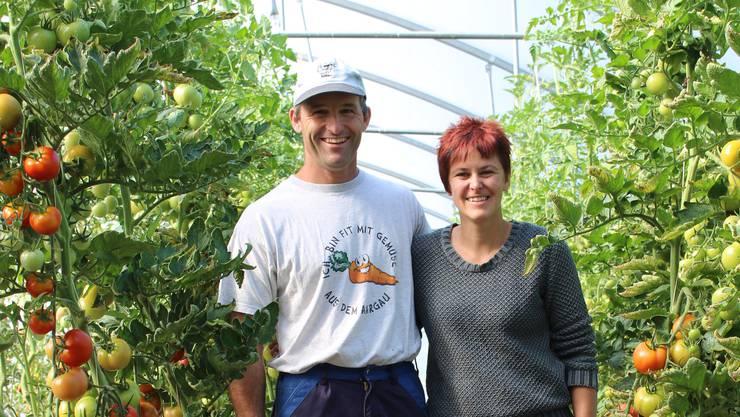 «Fit mit Gemüse aus dem Aargau»: die Hunzikers inmitten ihrer 300 Tomatenstöcken.