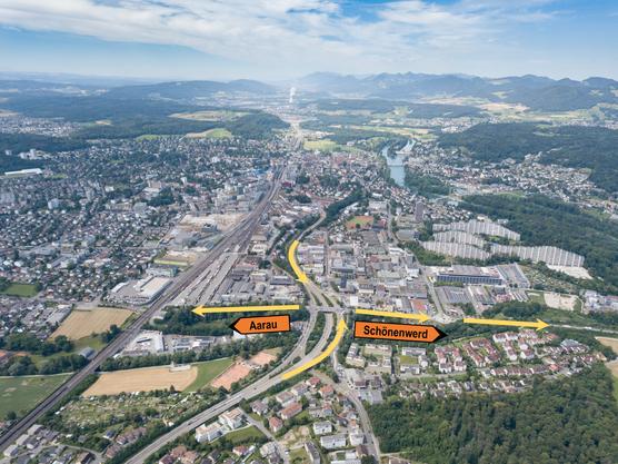 Seit Sonntag ist der Autobahnzubringer in Richtung Stadtzentrum gesperrt. Es muss mit längeren Staus gerechnet werden. Der Verkehrsfluss ins Stadtzentrum oder in Richtung Kanton Solothurn wird umgeleitet.